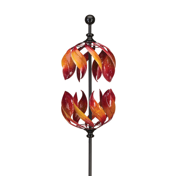 "Regal ""Double Flame"" Vertical Outdoor Decorative Garden Wind Spinner, , default"
