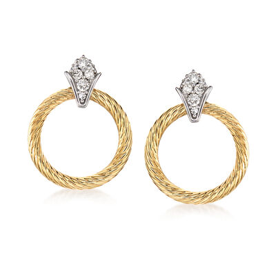 .25 ct. t.w. Diamond Doorknocker Earrings in 14kt Two-Tone Gold