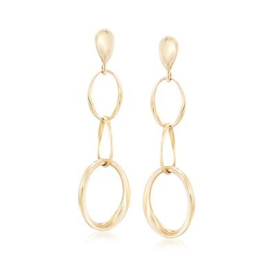 Roberto Coin Three Circle Drop Earrings in 18kt Yellow Gold, , default