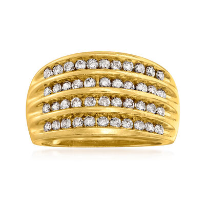 C. 1990 Vintage .96 ct. t.w. Diamond Multi-Row Ring in 10kt Yellow Gold
