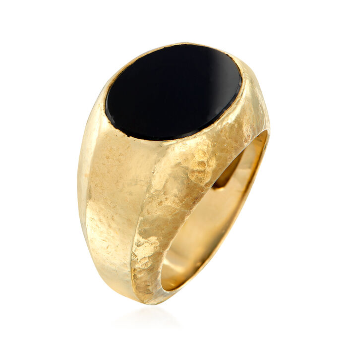 """C. 1980 Vintage Tiffany Jewelry """"Schlumberger"""" Black Onyx Ring in 18kt Yellow Gold"""