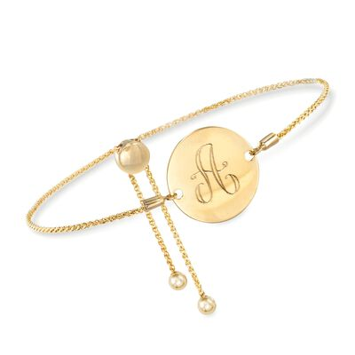 14kt Yellow Gold Personalized Disc Bolo Bracelet, , default