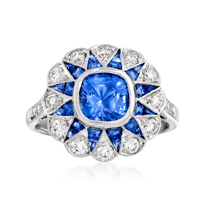 C 1990 Vintage 2.25 ct. t.w. Sapphire and .50 ct. t.w. Diamond Sunburst Ring in 18kt White Gold