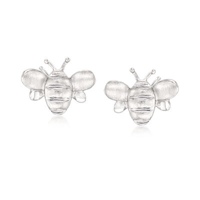Brushed and Polished Sterling Silver Bee Earrings