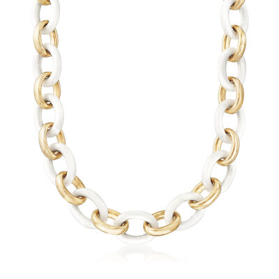 Andiamo White Agate and 14kt Yellow Gold Link Necklace
