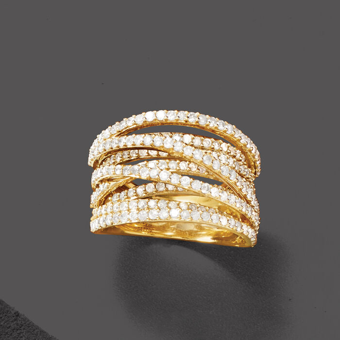 2.50 ct. t.w. Diamond Highway Ring in 18kt Gold Over Sterling
