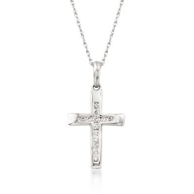 .12 ct. t.w. Diamond Cross Pendant Necklace in 14kt White Gold, , default