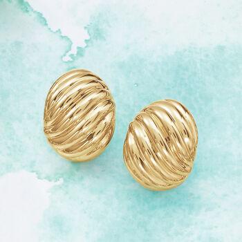 Italian Andiamo 14kt Yellow Gold Ribbed Earrings, , default