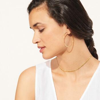 "1.25mm 14kt Yellow Gold Endless Hoop Earrings. 2"", , default"