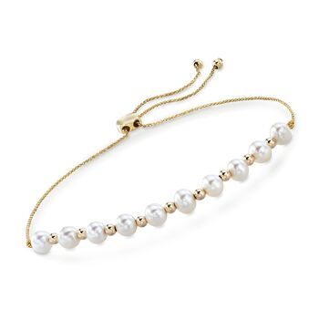 6-6.5mm Cultured Pearl Bolo Bracelet in 14kt Yellow Gold, , default