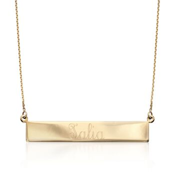 "14kt Yellow Gold Name Bar Necklace. 16"", , default"