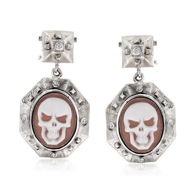 Italian .10 ct. t.w. CZ Skull Cameo Drop Earrings in Sterling Silver, , default
