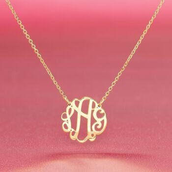 14kt Yellow Gold Medium Script Monogram Necklace, , default