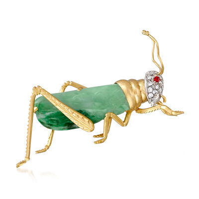 C. 1970 Vintage Jade and .25 ct. t.w. Diamond Grasshopper Pin with Ruby Accents in 18kt Yellow Gold