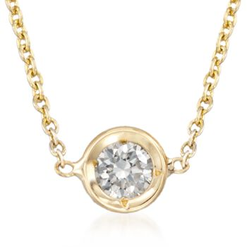 "Roberto Coin .10 Carat Diamond Solitaire Necklace in 18kt Yellow Gold. 16"", , default"