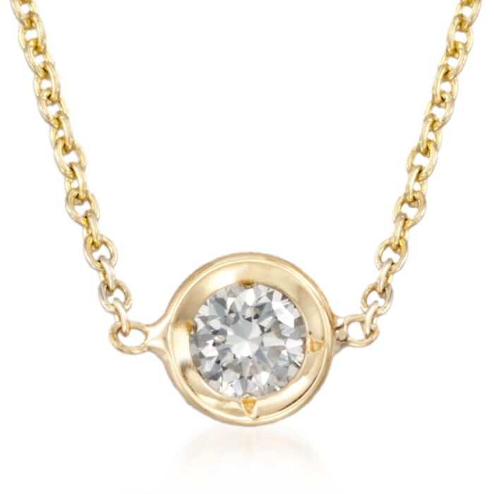 """Roberto Coin .10 Carat Diamond Solitaire Necklace in 18kt Yellow Gold. 16"""", , default"""