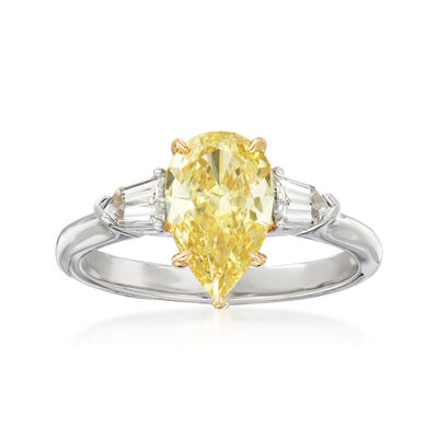 C. 2000 Vintage 1.42 Carat Certified Yellow Diamond and .39 ct. t.w. White Diamond Engagement Ring in Platinum and 18kt Yellow Gold