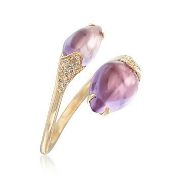 2.80 ct. t.w. Amethyst and .11 ct. t.w. Diamond Bypass Ring in 14kt Yellow Gold, , default