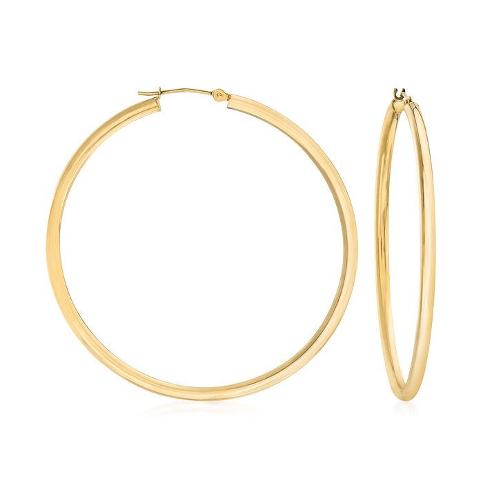 """2.5mm 14kt Yellow Gold Hoop Earrings. 2"""""""