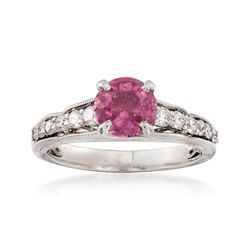 C. 2000 Vintage 1.30 Carat Pink Sapphire and .35 ct. t.w. Diamond Ring in 14kt White Gold. Size 6.5, , default