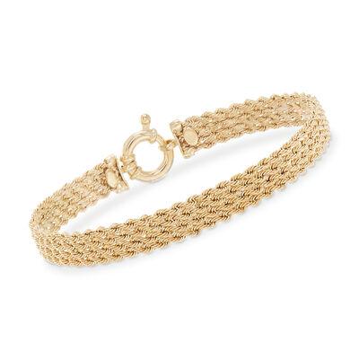 Italian 14kt Yellow Gold Multi-Row Rope Bracelet, , default