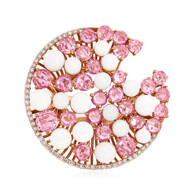 C. 1990 Vintage Giovanni Ferraris White Coral and 5.00 ct. t.w. Pink Sapphire Disc Ring with .26 ct. t.w. Diamonds in 18kt Rose Gold