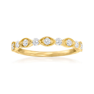 Henri Daussi .30 ct. t.w. Diamond Wedding Ring in 14kt Yellow Gold