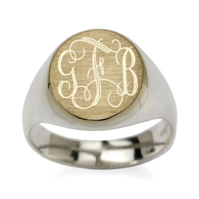 Two-Tone Sterling Silver Monogram Signet Ring