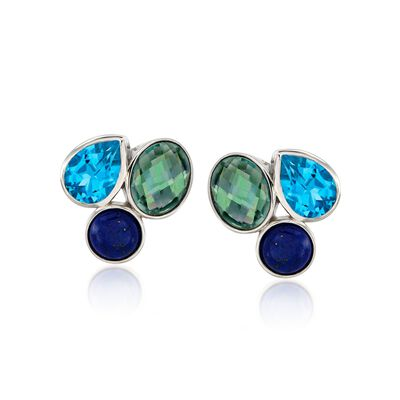 Lapis and 8.90 ct. t.w. Multicolored Topaz Earrings in Sterling Silver, , default