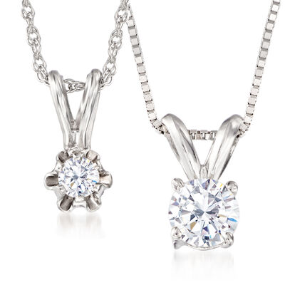 Mom & Me .40 ct. t.w. Diamond Solitaire Pendant Necklace Set of Two in 14kt White Gold, , default