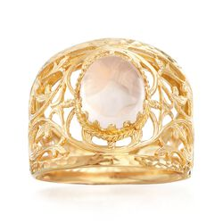 10x8mm Rose Quartz Cabochon Ring in 18kt Yellow Gold, , default