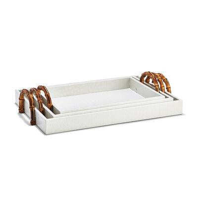Set of 3 White Crocodile Decorative Trays