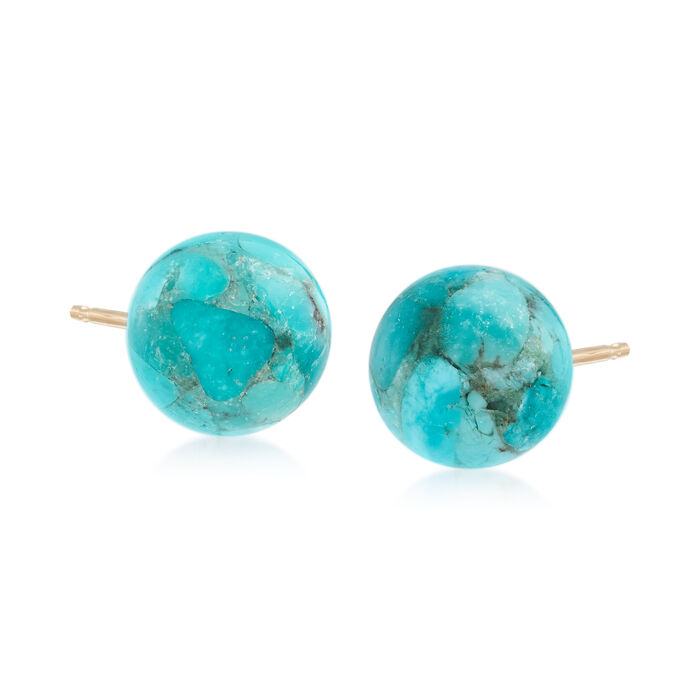 Turquoise Bead Stud Earrings in 14kt Yellow Gold, , default