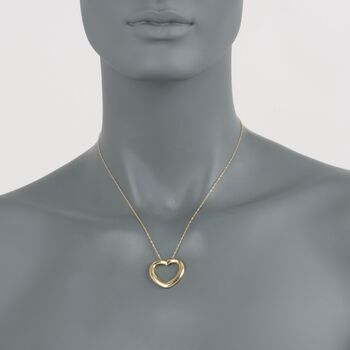 "14kt Yellow Gold Heart Necklace. 17"", , default"