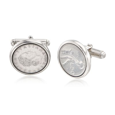 Men's Genuine 50-Lira Coin Cuff Links in Sterling Silver, , default