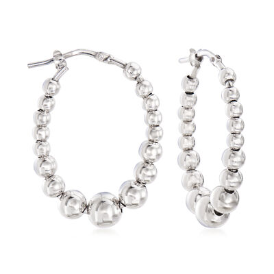 Italian Sterling Silver Beaded Oval Hoop Earrings