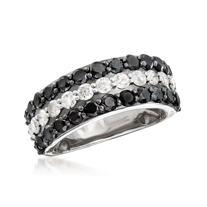 3.00 ct. t.w. Black and White Diamond Ring in Sterling Silver