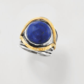 Lapis Ring in Sterling Silver with 14kt Yellow Gold