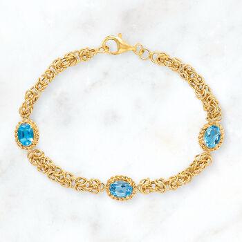 2.90 ct. t.w. Swiss Blue Topaz Byzantine Station Bracelet in 14kt Yellow Gold, , default