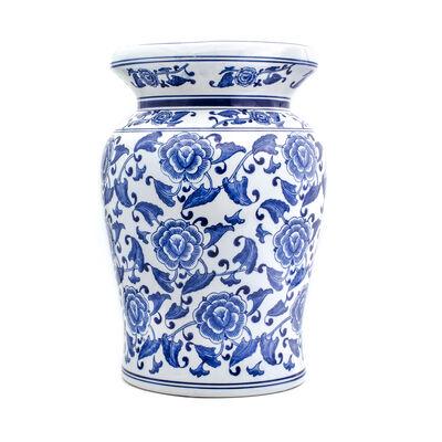 "Euro Ceramica ""Blue Garden"" Begonia Stool, , default"