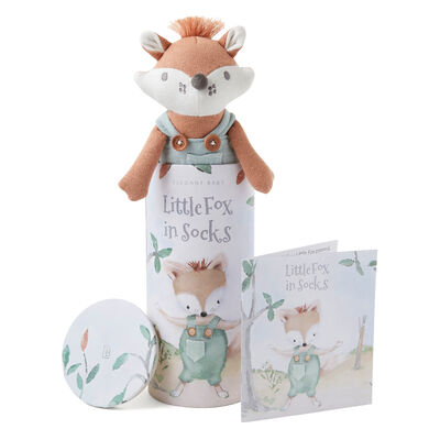 Elegant Baby Felix Fox Knit Toy and Book Set