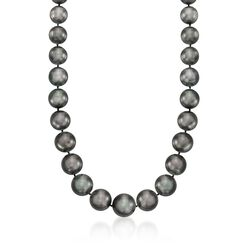 """11-15mm Black Cultured South Sea Pearl Necklace With Diamond Accents and 14kt White Gold. 18"""", , default"""