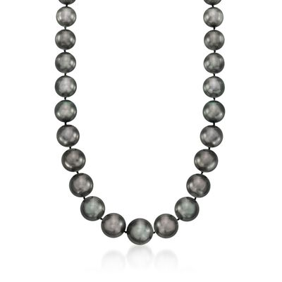 11-15mm Black Cultured South Sea Pearl Necklace with Diamond Accents and 14kt White Gold, , default