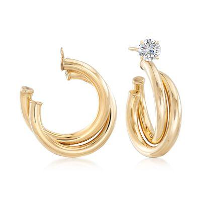 14kt Yellow Gold Tubular C-Hoop Earring Jackets, , default
