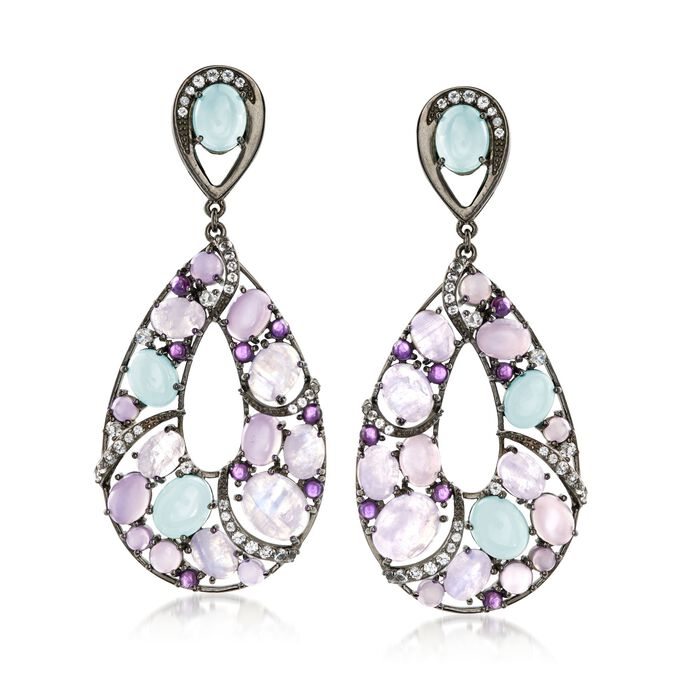 Cabochon Multi-Stone and 2.10 ct. t.w. White Topaz Drop Earrings in Sterling Silver, , default