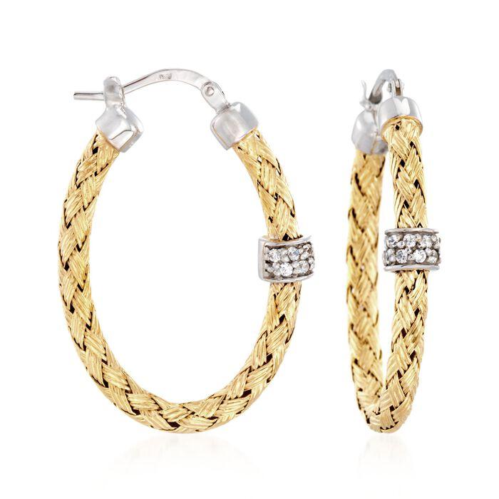 """Charles Garnier """"Torino"""" .20 ct. t.w. CZ Oval Hoop Earrings in Two-Tone Sterling Silver"""