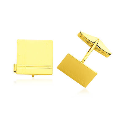 14kt Yellow Gold Three-Initial Cuff Links, , default