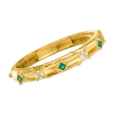 .90 ct. t.w. Emerald Bangle Bracelet in 14kt Yellow Gold with Diamond Accents, , default