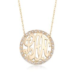 ".25 ct. t.w. Diamond Openwork Monogram Necklace in 14kt Yellow Gold. 16"", , default"
