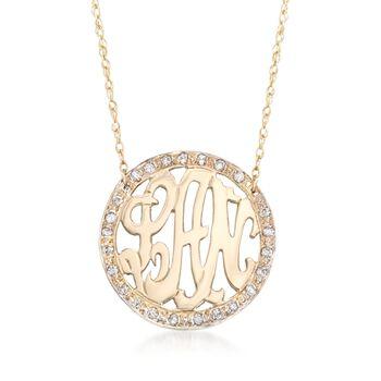 """.25 ct. t.w. Diamond Openwork Monogram Necklace in 14kt Yellow Gold. 16"""", , default"""